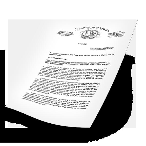 VA Certificates of Insurance